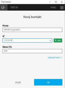 Zadání nového kontaktu v Adresáři Profi Účtenky